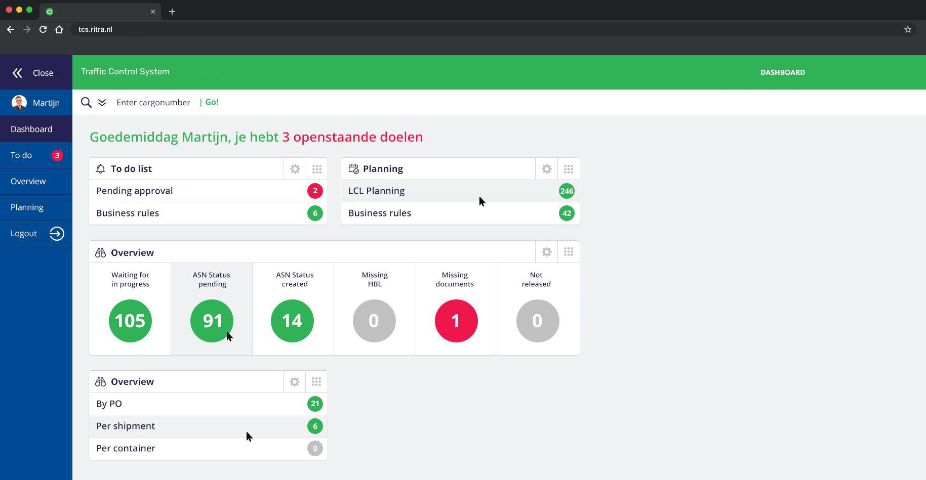 Po-management tool expediteur Ritra Cargo