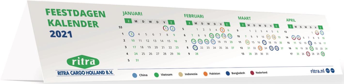 Feestdagen Azië kalender 2021 expediteur Ritra Cargo